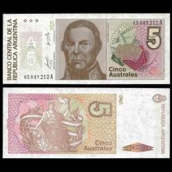 ARGENTINE - Billet de 5 Australes - 1985-1989