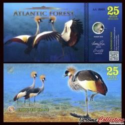 ATLANTIC FOREST - Billet de 25 Aves - Grue royale - 2016 0025 AVES