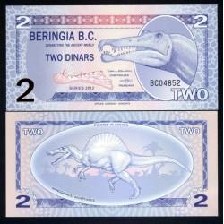 BERINGIA - Billet de 2 Dinars - Spinosaure - 2012