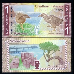 CHATAMAS ISLANDS / ILES CHATHAM - Billet de 1 Koha - Oiseau Râle wéka - 2013