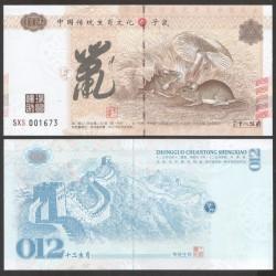 CHINE - Billet du Signe du zodiaque chinois: Le Rat - 2016