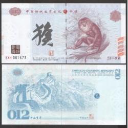CHINE - Billet du Signe du zodiaque chinois: Le Singe - 2016
