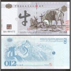 CHINE - Billet du Signe du zodiaque chinois: Le Boeuf - 2016