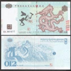 CHINE - Billet du Signe du zodiaque chinois: Le Dragon - 2016