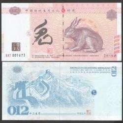 CHINE - Billet du Signe du zodiaque chinois: Le Lièvre - 2016