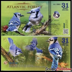 ATLANTIC FOREST - Billet de 31 Aves - Geai bleu - 2016