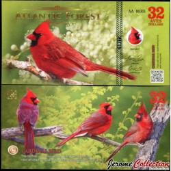 ATLANTIC FOREST - Billet de 32 Aves - Cardinal rouge - 2017 0032 AVES
