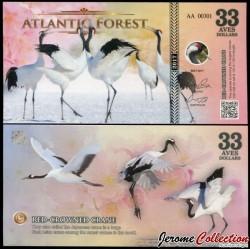 ATLANTIC FOREST - Billet de 33 Aves - Grue du Japon - 2017 0033 AVES