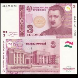 TADJIKISTAN - Billet de 3 Somoni - 2010