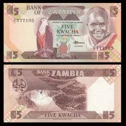 ZAMBIE - Billet de 5 Kwacha - 1988