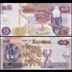 ZAMBIE - Billet de 5 Kwacha - 2012