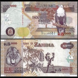 ZAMBIE - Billet de 5000 Kwacha - 2011