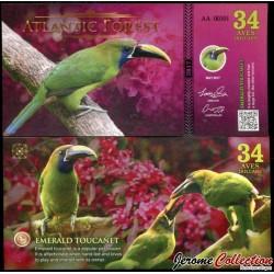 ATLANTIC FOREST - Billet de 34 Aves - 2017 - Toucanet émeraude 0034 AVES