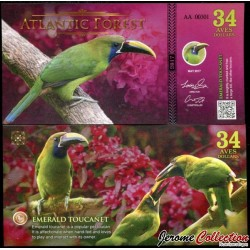 ATLANTIC FOREST - Billet de 34 Aves - 2017 - Toucanet émeraude