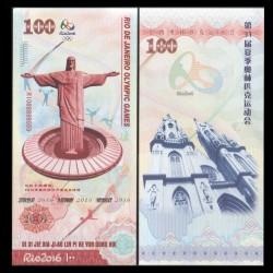 CHINE - Billet du 100 Yuan - Jeux Olympiques - Brésil - Christ Rédempteur - 2016