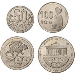 OUZBEKISTAN - SET / LOT de 4 Pièces - 50 100 200 500 Som - 2018