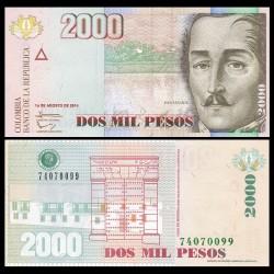 COLOMBIE - Billet de 2000 Pesos - Général Santander - 2014