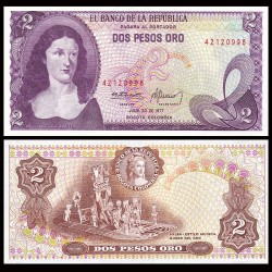 COLOMBIE - Billet de 2 Pesos Oro - Policarpa Salavarrieta - 20.07.1977 P413b