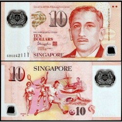 SINGAPOUR - Billet de 10 DOLLARS - Polymer  - ▼ - Sports - 2018