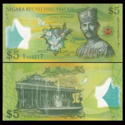 BRUNEI - Billet de 5 Ringgit / Dollars - Sultan Hassan al-Bolkiah I - Polymer - 2011