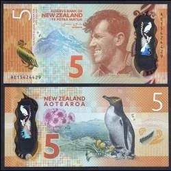 NOUVELLE ZELANDE - Billet de 5 Dollars - Sir Edmund Hillary - Polymer - 2015