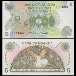 OUGANDA - Billet de 5 Shillings - Récolte de café - 1982