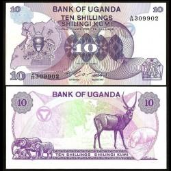 OUGANDA - Billet de 10 Shillings - Éléphants, Gazelle, Hippopotame - 1982