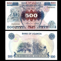 OUGANDA - Billet de 500 Shillings - Bétail - 1986