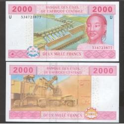 CAMEROUN - Billet de 2000 Francs - 2002 / 2017 P208Ue - Lettre U