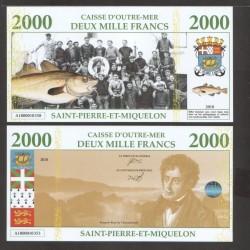 SAINT PIERRE ET MIQUELON - Billet de 2000 Francs - Terre neuvas - 2018