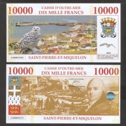 SAINT PIERRE ET MIQUELON - Billet de 10000 Francs - Vue de Saint Pierre- 2018 10000