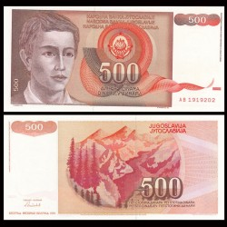 YOUGOSLAVIE - Billet de 500 Dinara - Montagnes - 1991 P109a