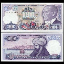 TURQUIE - Billet de 1000 Lire turque - Mehmet le Conquérant -1986