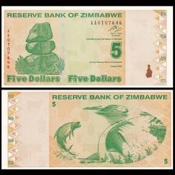 ZIMBABWE - Billet de 5 DOLLARS - 2009