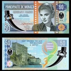MONACO - Billet de 50 Francs - Princesse Grace Kelly - POLYMER - 2018 0050 - Gabris - Serie B