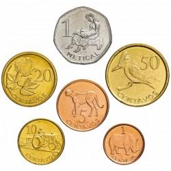 MOZAMBIQUE - SET de 6 PIÈCES - 1 5 10 20 50 Centavos 1 Metical - 2006