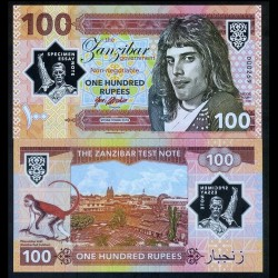 ZANZIBAR - Billet de 100 Rupees - Freddie Mercury - Polymer - 2018 0100 - Gabris - Série D