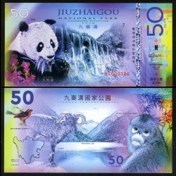 NATIONAL PARK / PARC NATIONAUX - JIUZHAIGOU - Billet de 50 DOLLARS - Panda - 2018