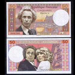FRANCE - Billet de 50 Francs - Pierre richard & Mireille Darc - 2018