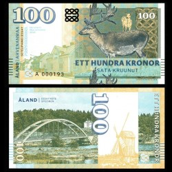 ÅLAND / FINLANDE - Billet de 100 Kronor - Cerf - 2018