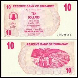 ZIMBABWE - Billet de 10 Dollars - Bearer cheque - 31.07.2007