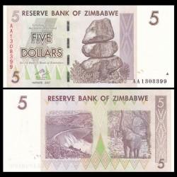 ZIMBABWE - Billet de 5 DOLLARS - 2007