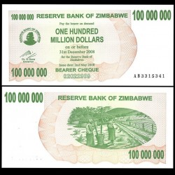 ZIMBABWE - Billet de 100000000 DOLLARS - Bearer cheque - 02.05.2008