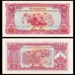 LAOS - Billet de 10 Kip - Embuscade - 1968