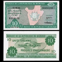 BURUNDI - Billet de 10 Francs - 01.06.1981 P33a.1