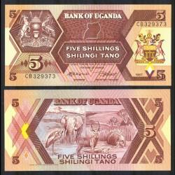 OUGANDA - Billet de 5 Shillings - Animaux Sauvages - 1987