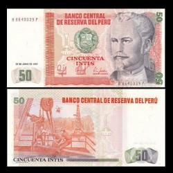 PEROU - Billet de 50 Intis - Nicolas de Piérola - 26.06.1987