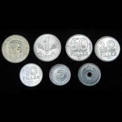 HONGRIE - SET / LOT de 7 PIECES de 2 5 10 20 50 Filler 1 5 Forint - 1965 / 1983