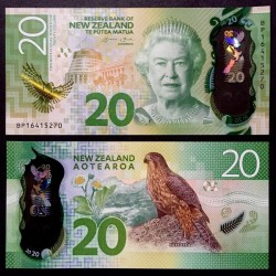NOUVELLE ZELANDE - Billet de 20 Dollars - Faucon de Nouvelle-Zélande - Polymer - 2016 P193a
