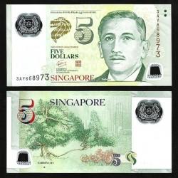 SINGAPOUR - Billet de 5 DOLLARS - Polymer - Jardins - 2010